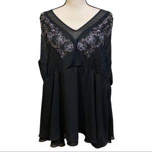 Torrid Black Floral Beaded Embroidered Top